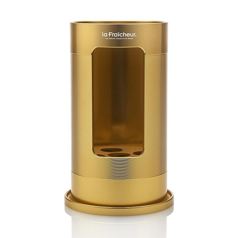 Grand Cru-Wijnkoeler-Exclusive-La Fraicheur-Goud-Aluminium-Geanodiseerd-Vooraanzicht-Allseason-Overzicht