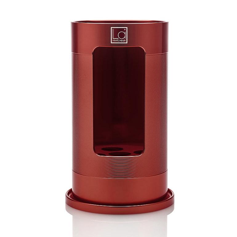 Grand Cru-Wijnkoeler-Premium-La Fraicheur-Rood-Aluminium-Geanodiseerd-Vooraanzicht-Vierkant logo-Overzicht